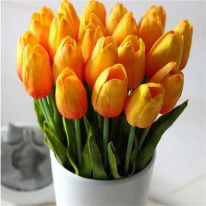 Latex tulipes artificielles PU bouquet de fleurs fleurs toucher réel pour la décoration Accueil Fleurs mariage décoratif 11 couleurs Option
