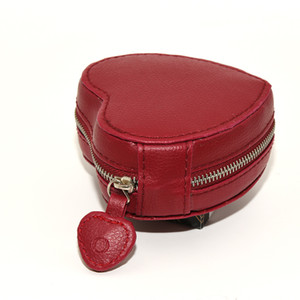 Caja de embalaje de la exhibición de la exhibición de la exhibición del corazón de cuero rojo de la mejor calidad para la pulsera de los encantos de Pandora Bolsas de regalo de la joyería de cuero originales