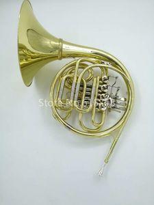 Высокое качество двойной ряд 4 ключ валторна B-F Мелодия валторна С случае золотой лак поверхности Рог музыкальный инструмент Бесплатная доставка