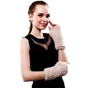 Lady's real mink fur fingerless mittens winter wrist warm gloves for women fashion