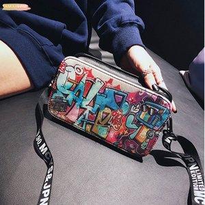Small Bags For Women Sacs Femme 2020 Fashion Ladies Lleather Personality Graffiti Zipper Shoulder Bag Messenger Bag Zipper 30