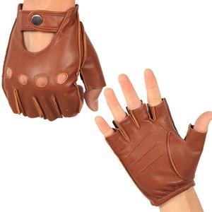 Los guantes de cuero genuino semi-dedo masculino fino sin forro antideslizante y transpirable de conducción de piel de cabra La mitad de los hombres dedos manoplas NAN7