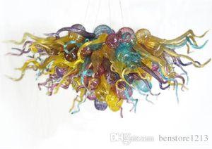 """Moda Nova Mão fundida de vidro Lustre iluminação colorida Art Glass Pendant Lighting 28 """"x20"""" Art Decor casa Lâmpadas Modern"""