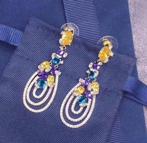 Famous designer jewelry luxury wedding love earrings 925 sterling silver Colorful diamond temperament elegant drop earrings