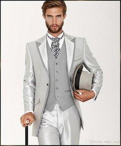 Handsome Groomsmen picco risvolto smoking dello sposo degli uomini Wedding Dress Giacca uomo Blazer Prom Cena 3 tuta (Jacket + Pants + Tie + Vest) 236