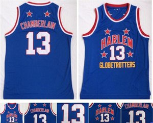 Camicia # 13 Wilt Chamberlain Harlem Globetrotters Cheap College Basketball Maglia Vintage blu Wilt Chamberlain sport di pallacanestro