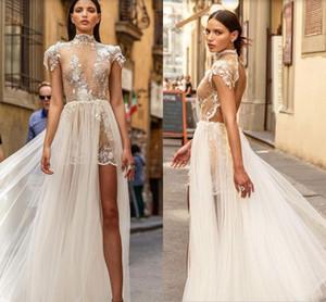 Muse par Berta Automne 2020 Robes de mariée à col en dentelle Applique Floral mancherons Holiday Beach courte robe de mariée avec Ceinture Serre