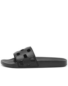 das mulheres dos homens unissex Preto recorte Rubber Sliders piscina luxe chinelos plana com carimbada designer único euro 35-46
