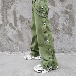 Schwarz-Grün Männer Side Buttons Gewaschene Vintage-Street Hip Hop lose gerade Jeans-Hose-Männer Frauen-Denim-Hose