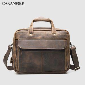 Caranfier Retro Herren Aktentasche Erste Schicht Crazy Horse Rindsleder Herren Business Packs 16-Zoll-Laptop Schulter Reißverschlusstaschen J190629