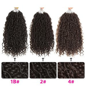 "24 Root 14 ""Goddess Locs Crochet Hair Short Synthetic Crochet Twist Braids Wave Hair Extension Faux Locs para mujeres"