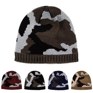 New Men Camouflag Winter Thickened Warm Beanies Hat Army Camo Color Soft Hunting Fishing Climbing Outdoor Sport Knitted Cap