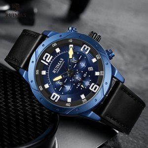 Couro Luxo Chronograph relógios masculinos RUIMAS Strap analógico relógio de pulso Homem Top Marca relógio impermeável Masculino Relógios Relógio 595