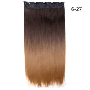 Shang Hair 22 Inch Long Straight Synthetic Hair Clip In Hair Extension 130g pc Heat Resistant Hairpiece Natural Wavy