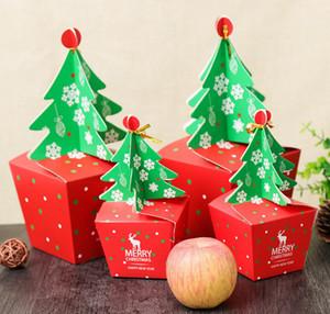 8 * 8cm Red 3D Weihnachtsbaum-Geschenk-Box mit Bell-Papier-Süßigkeit-Kasten Plätzchen Cholocate Papier Apple-Box Frohe Weihnachtsdekoration Verpackung