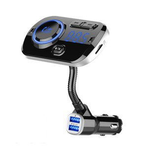 Hands-free Calling Bluetooth FM Transmitter Car Kit Wireless MP3 Player 5V1A USB Car Charger Support 2 Phones Connection TF Card