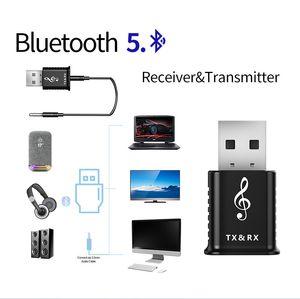2 في 1 USB Bluetooth Dongle Adapter 5.0 لجهاز الكمبيوتر سماعات الكمبيوتر ماوس لاسلكية موسيقى بلوتوث استقبال الصوت الارسال Aptx