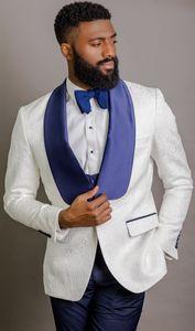 Custom Made Groomsmen Shawl Blue Lapel Groom Tuxedos One Button Men Suits Wedding Prom Dinner Best Man Blazer ( Jacket+Pants+Tie+Vest )K431
