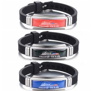 Adulte Trump train Bracelet 2020 atout président américain Élection Amérique du Bracelet en silicone coloré bracelet en acier inoxydable bracelet JJ440