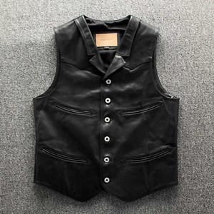 Genuine Leather Leather Vest Motociclista Mens Horsehide Gilet reale collare soddisfare casuale camice senza maniche Gilet