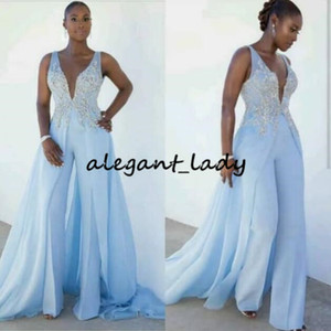 Sky Blue Prom Jumpsuit With Train 2020 Sexy V-neck Lace Beaded Chiffon Outfit Full Length Jumpsuits for Women Evening Party Dress