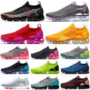 2019 Nike Vapormax flyknit 2 vaporfly Laceless 2 University Red VPM Zapatillas de tenis para hombre Chrome Volt Negro Blanco Zapatillas de deporte para mujer