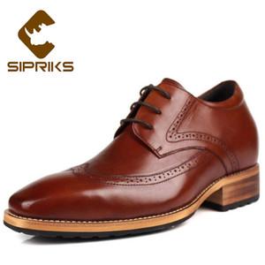 Sipriks Kahverengi Deri Gizli Topuk Ayakkabı Erkekler Oxfords Asansör 8 CM Boss Erkek Brogue Ayakkabı Şık Siyah Gents Suit