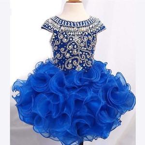 Kraliyet Mavi Kısa Kızlar Pageant elbise Toddlers Için Cap Kollu Boncuk Kristaller Ruffles Etek İlk Communion Elbise Ucuz Çocuklar parti törenlerinde