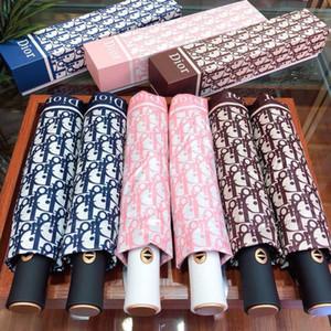 مظلة التلقائي بالكامل مع طباعة رسالة العلامة التجارية للأشعة فوق البنفسجية حماية المظلة مع صندوق الأزياء صامد للريح مظلة للطي