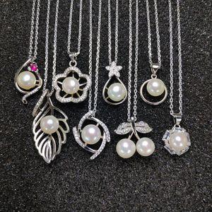 8 стилей Жемчужный кулон 925 Серебряное ожерелье 7-8 мм сплюснутый жемчужное ожерелье для женщин ювелирные изделия свадьба Рождество подарочная коробка