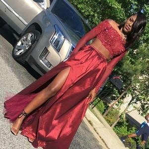 Popolare Due Pezzi Dark Red Prom Dresses africano della festa Black Girls Dress fuori dalla spalla maniche lunghe ad alta Split gli abiti di sera
