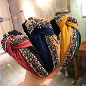 1pc cristal large Bandeau Mode Femmes Filles de la Croix-Hoop Patchwork cheveux brillants Noeud Bow Hairband Cadeau