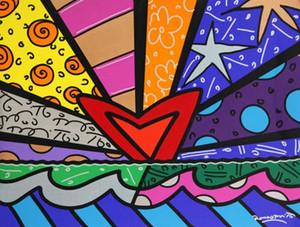 Romero Britto произведения NEW ЛЮБОВЬ Home Decor расписанную HD печати Картина маслом на холсте Wall Art Canvas картинки 200512