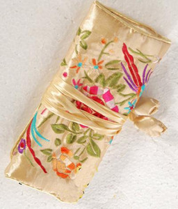 Seide bestickt Reise Roll Up Schmuck Verpackung Beutel Halsketten-Armband-Armband-Ohrring-Ring Lagerung 3 Reißverschluss-Beutel-Kupplungs-Frauen-Geldbeutel