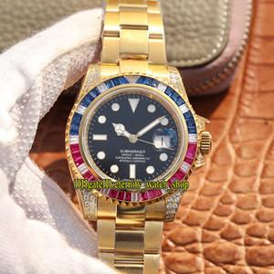 OW versión personalizada SUB 40MM 116613 116618LN m116618 ETA 2836 automático negro Dial diamantes relojes de diseño del bisel del reloj para hombre 116610 Sapphire