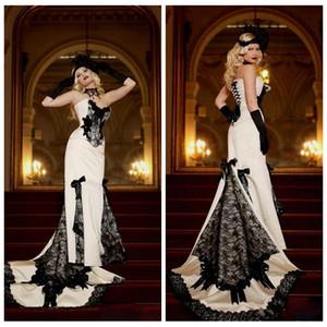 Sweetheart Dentelle Appliques Slim 2021 Robes de mariée Sirène Gothique Black and White Formel Robes de mariée à lacets Retour Vestidos de mariage