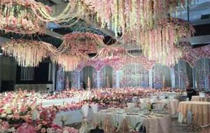 21 ألوان الزهور الاصطناعية أنيقة الوستارية زهرة الكرمة 34CM المنزل والحديقة تعليق على الحائط القش لحزب عيد الميلاد مناسبات الزفاف متاح