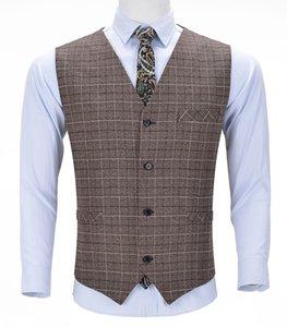 Men's Business Wool Plaid Vest Boutique Slim Fit Single-breasted Cotton Suit Vest Waistcoat For Wedding Formal Vest Groomsmen