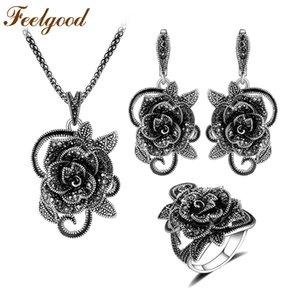 Feelgood Silver Color Vintage Jewellery Set Fashion Black Crystal Flower Conjuntos de joyas para mujeres Fiesta de bodas Regalo de cumpleaños