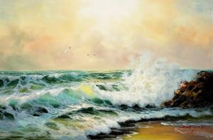 Ocean Wave Paysage 100% Peinture à l'huile peinte à la main sur la toile à la main mur décoratif Photos Peinture Art