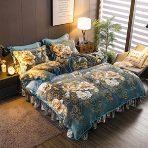 Bettwäsche-Sets 4pcs / set Designer Bettwäsche-Sets Flanell Bettlaken Bettrock Bettbezug Kissen weiche Luxus Bettwäsche