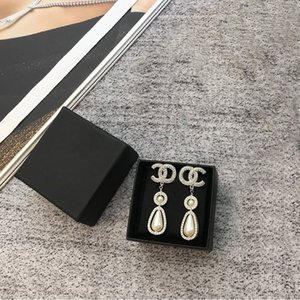 C2203 Stylish precision inlaid cubic zirconia letter earrings with high quality brass imitation pearl drop earrings for women wearing jewelr