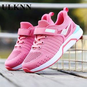 Sapatos de Ulknn Crianças Super Light Running Shoes da New Girls respirável crianças pequenas Shoes Verão Esportes malha macia S200107