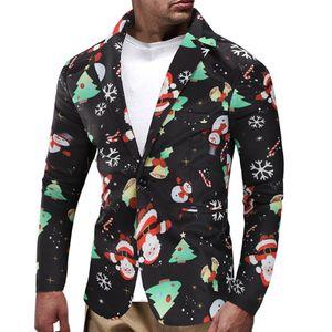 Christmas Snowmen Floral Mens Blazer Jacket Men Casual Slim Candy Printed Casual Mens Suit Jacket Streetwear
