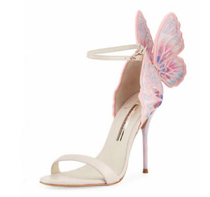 Free Shipping Women's Leather Heels, Pink Embroidery Wings Decoration, Toe-Toed Sandals, Size: 34-42