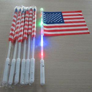 Temmuz Aydınlık Bayrak Parti Malzemeleri Amerikan LED Bayrağı El Bayrağı 30 * 20cm ABD Bağımsızlık Günü Banner Bayraklar 4