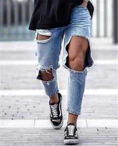 Trou bleu clair mens crayon jeans mode longue taille moyenne designer pantalons pour hommes