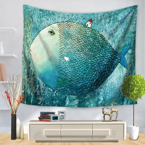 Cartoon Big Head Fish Bear Penguin Tapestry Wall Hanging Tapestries Paintings Children Room Party Background Cloth Tapestry Wall