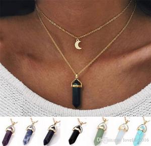 Новая Мода Женщины Двойной Золотой Цепи Колье Луна Шестиугольник Натуральный Камень Кулон Ожерелья Ювелирные Изделия Ручной Работы A349