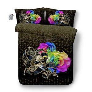 3D Rainbow Rose Bedding with Pillow Cases Duvet Cover 3 Pieces Set, Polyester Quilt Cover Zipper Closure, No Comforter